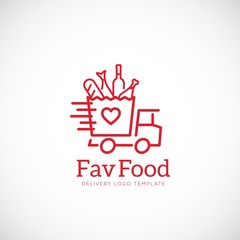 Favorite Food Delivery Abstract Vector Concept Icon or Logo