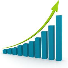 Green arrow on blue graph