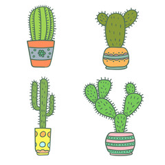 Set of hand drawn cactus. Vector illustration.