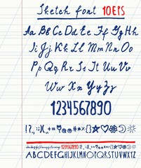 handwritten English alphabet. Vector illustration .