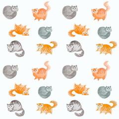 Seamless cute cats watercolor pattern