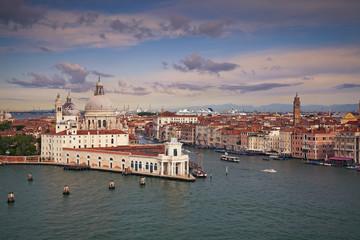 Venice. Aerial view of the Venice with Basilica di Santa Maria della Salute.