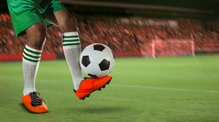 soccer football players in sport stadium field against fan club