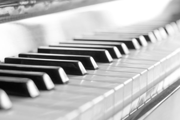 Keyboard of piano. Black and white image with selective focus