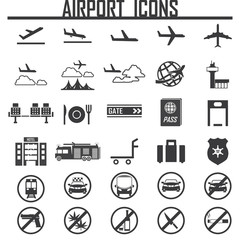 airplane, airport  icon, isolated, on white background. Exclusiv
