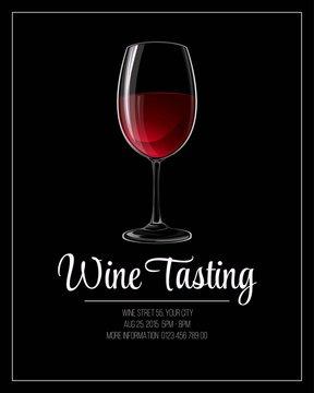 Wine tasting flyer template. Vector illustration