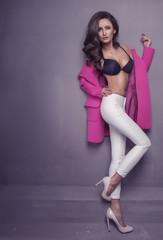Obraz sexy woman in seductive black lingerie - fototapety do salonu
