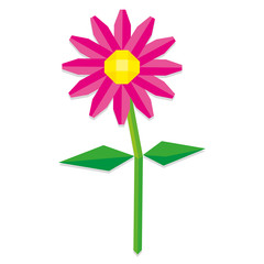 Low Poly Style Pink Flower Isolated
