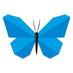 Low Poly Style Blue Butterfly Isolated