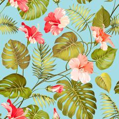 Seamless tropical flower.