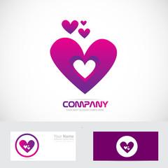 Purple pink heart love logo