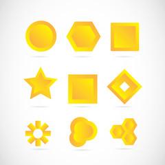 Yellow logo icon elements set