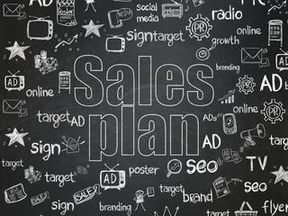 Marketing concept: Sales Plan on School Board background