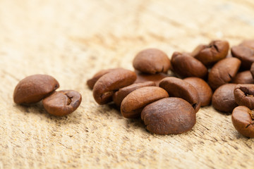 Close up shot of roasted coffee beans