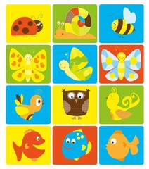 summer set of nice stickers with little creatures