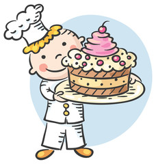 Happy Cartoon Cook with a Cake
