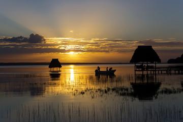 Poster Crimson sunsemalat on Lake Peten Itza Guate