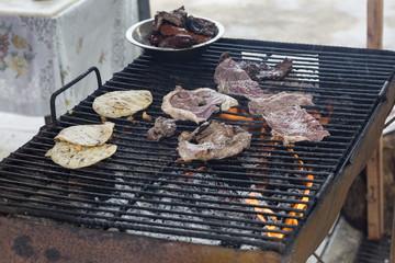 grilling street food in Guatemala