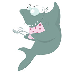 Hungry shark is waiting for dinner holding  in the hands a knife and fork.
