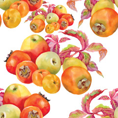 Seamless pattern with red watercolor apples. Vector illustration