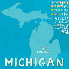 Map of Michigan with icons