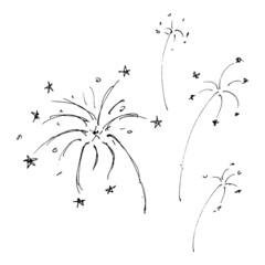 Set of cartoon style fireworks