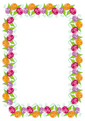 Frame with garden flowers