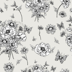 Monochrome Floral Seamless Pattern with Blooming Poppies
