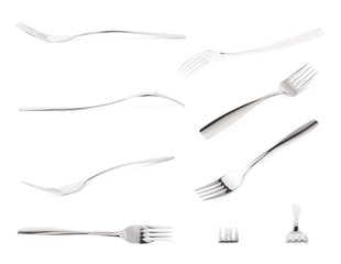 Stainless steel glossy metal fork isolated