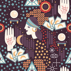 Fortune teller themed seamless pattern with gypsy fortune teller woman, tarot cards, palmistry icons, and other divination symbols.