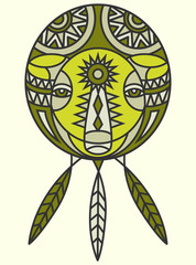 A tribal bear design in the shape of a dream catcher with feathers.