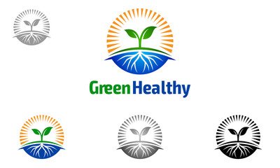 eco, green, leaf, plant, growth, sun, root, logo, vector