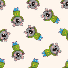 animal koala winter cartoon , cartoon seamless pattern background