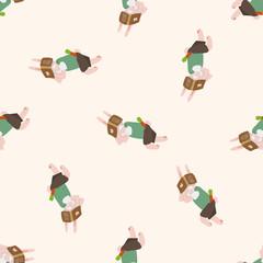 animal going to school cartoon , cartoon seamless pattern background