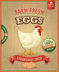 Vintage farm fresh eggs poster design