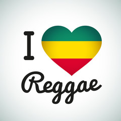 I love Reggae Heart illustration, Jamaican music logo design