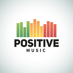 Reggae music equalizer logo emblem vector design. Positive dub