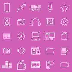 Media line iocns on pink background