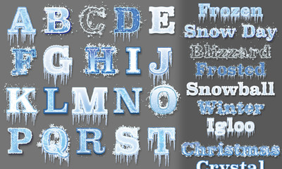 Frozen Graphic Styles for Adobe Illustrator (CS5 and up). Set of 20 detailed Styles, instructions included.