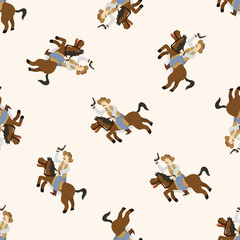 cowboy , cartoon seamless pattern background