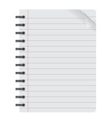 realistic spiral notepad notebook isolated on white vector, isolated paper sheet, Paper sheet
