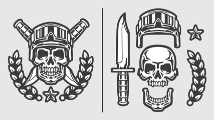 Skull Military Helmet with Crossed Knives Olive Branch and Star