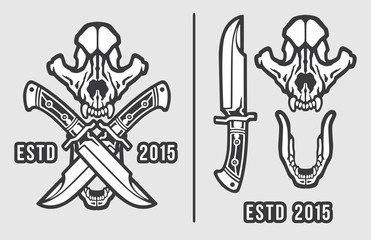 Wolf Skull with Crossed Knives Logo Emblem