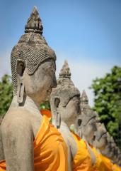 Buddha statue in temple at Wat Yai Chaimongkol in Ayuttaya Provi