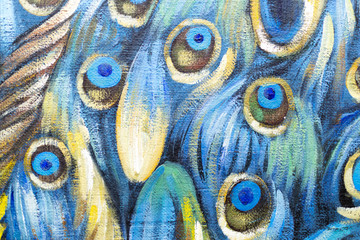 Closeup of Oil Painting of Peacock