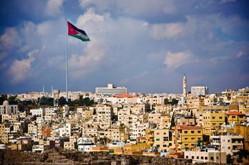 Jordan Flag and houses from Amman citadel