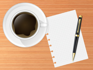 Coffee cup on a table with pen and empty sheet of paper. Vector