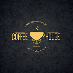 Vintage logotype for coffee house, cafeteria, bars, restaurant, tea shop