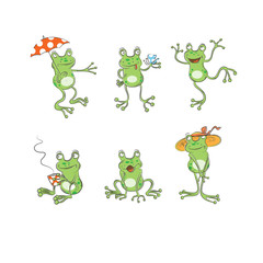 Set from six cartoons frogs, the sketch, doodle.