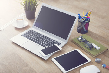 Laptop, smartphone, tablet office mockup